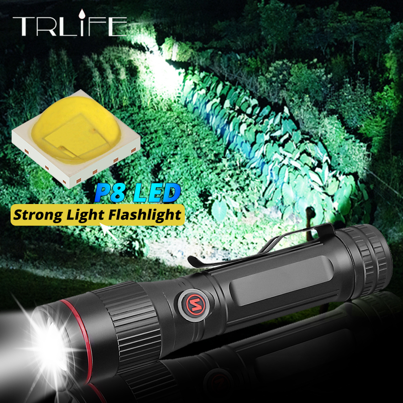 20000 Lumens  LED Flashlight Zoom Portable Super Bright Torch USB Rechargeable Waterproof Lamp Press Switch Use 18650 Battery