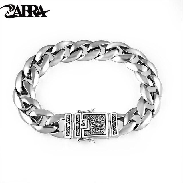 ZABRA Real 925 เงินสร้อยข้อมือ 12 มม.Smooth Flower ปลอดภัยล็อคภาษาโปลิชคำ Link Chain ชาย BIKER สร้อยข้อมือเงิน
