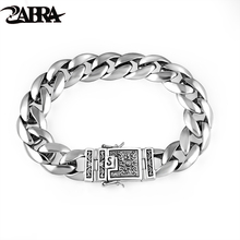 ZABRA Real 925 Silver Mens Bracelet 12mm Wide Smooth Flower Safe Lock High Polish Link Chain Male Biker Silver Bracelet