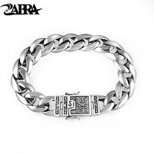 ZABRA Real 925 Silver Men's Bracelet 12mm Wide Smooth Flower