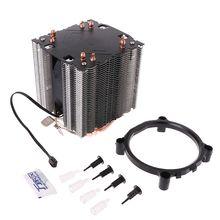 Кулер для процессора с 4 тепловыми трубками, 130 Вт, красный кулер для процессора, 3 контактный вентилятор, радиатор для Intel LGA2011 AMD AM2 754