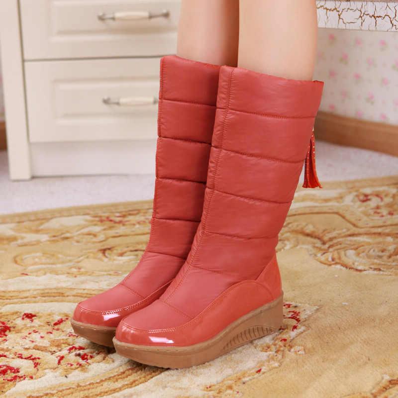 BONJOMARISA gümrükleme satış kış sıcak orta buzağı kar botları kadın 2020 su geçirmez Platform çizmeler kış eklemek kürk ayakkabı kadın 35-44