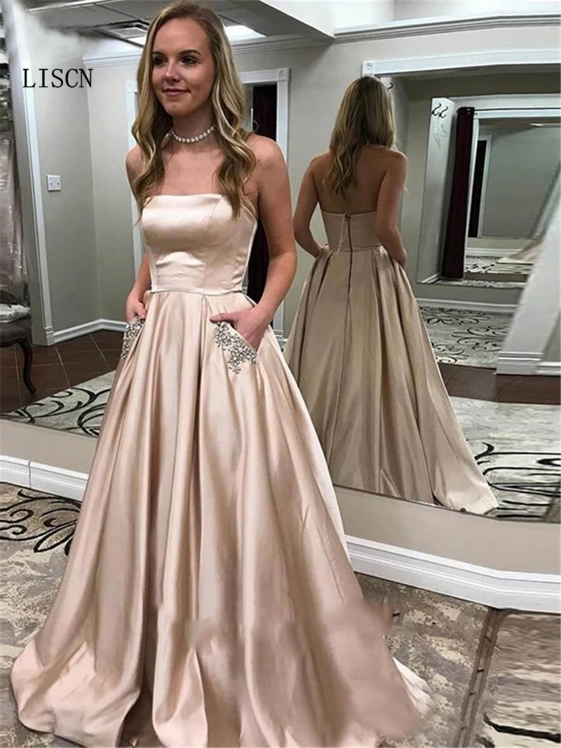 Champagne Backless Rhinestones Strapless Beaded Robe de Soiree   Prom     Dress   with Pockets Formal Party Gowns Silk Satin Sweep Train