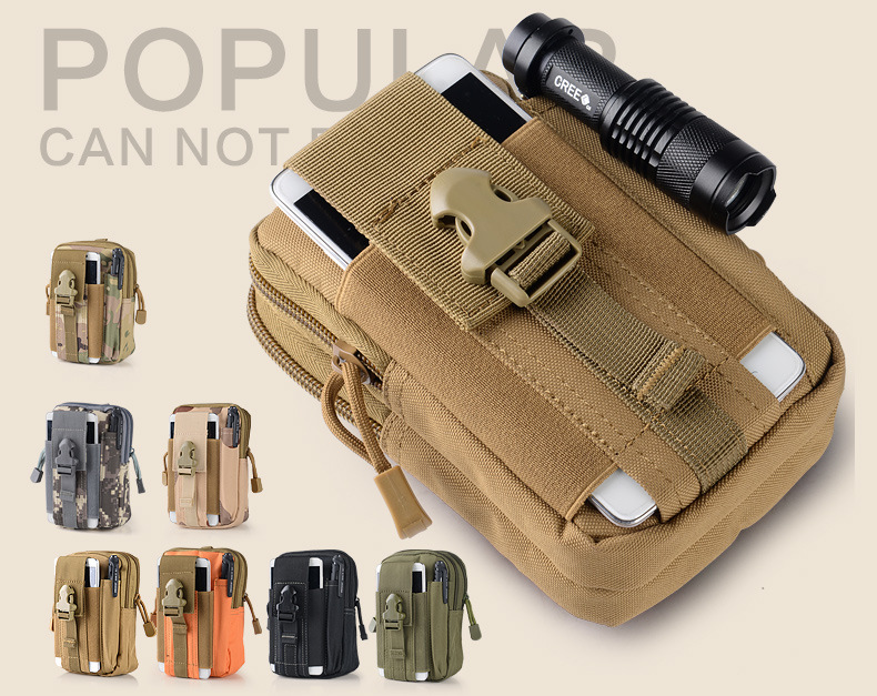 Factory Sales Multi-functional Army Fans Tactical Waist Pack Outdoor Sports Mobile Phone Waist Bag Pannier Bag Men Wear Leather