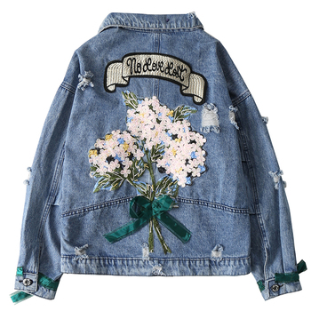 ZQLZ Autumn Women Denim Jacket Bomber Appliques Vintage Elegant Outwear Autumn Hole Female Jacket Coat Casual Jeans Tops цена 2017