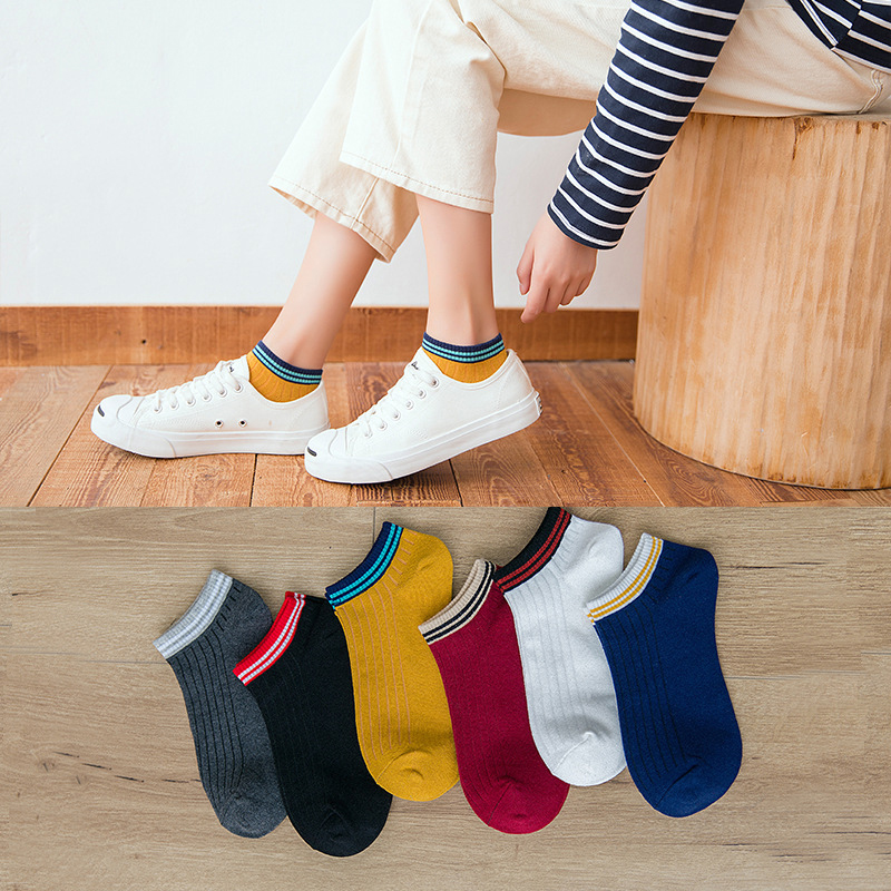 New Men Women's Socks Comfortable Cotton Boat Bock Ankle Low Female Invisible Color Unisex Girl Boy Hosiery Ladies Stripe Sock