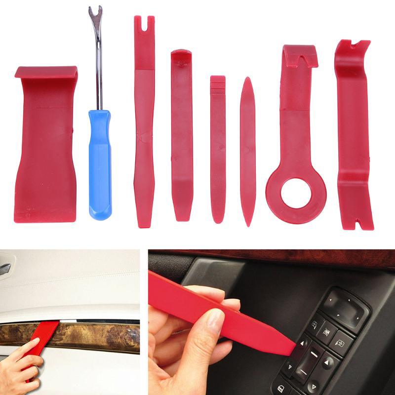 8pcs Hard Plastic Auto Car Radio Panel Interior Door Clip Panel Trim Dashboard Removal Opening Tool Set DIY Car Repair Tool Kit