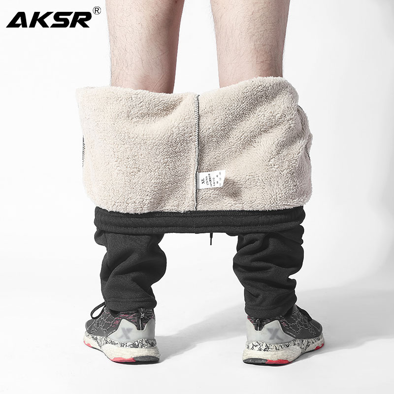 AKSR 2019 Winter Men's Sweatpants Streetwear Pants Big Sizes Cashmere Warm Pants Stretch Elastic Sport Joggers Pantalones Hombre