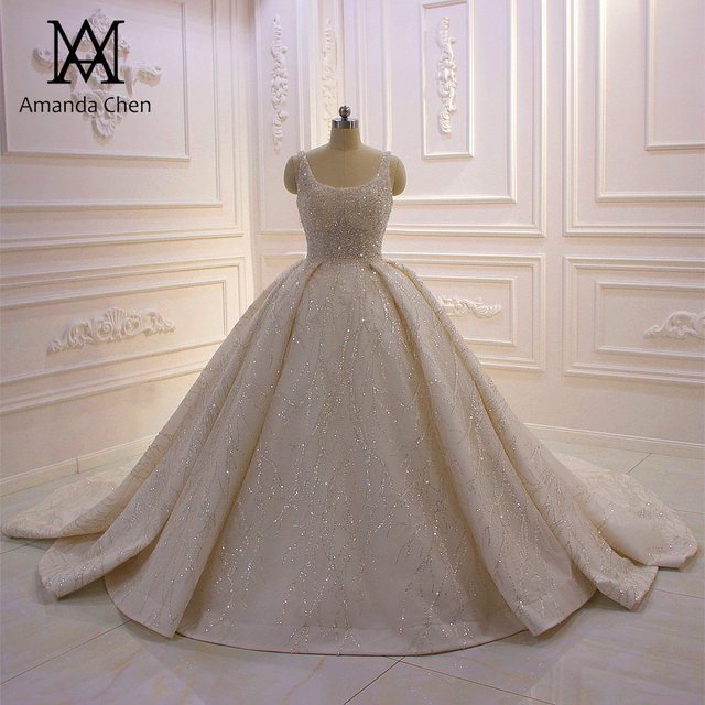 Abito דה sposa שווי שרוול קריסטל פנינים מבריקה טורקיה חתונה שמלת 2020