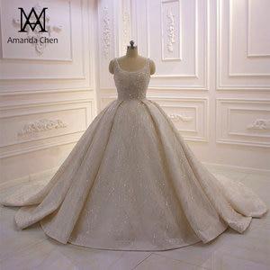 Image 1 - abito da sposa Cap Sleeve Crystal Pearls Shiny Turkey Wedding Dress 2020