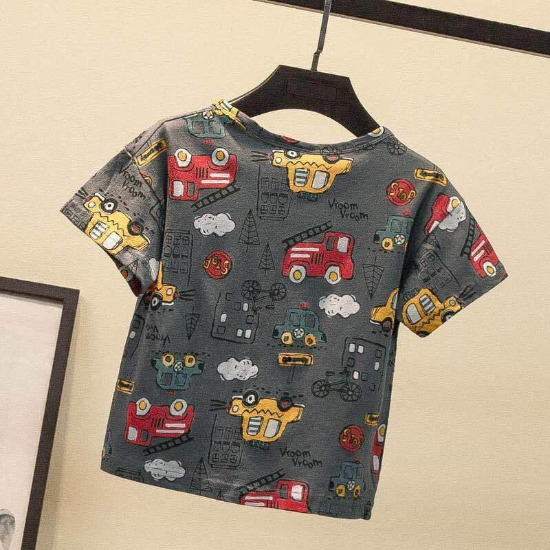 VIDMID Summer New Men's Clothes Children's Boys' Top Cartoon Car Pure Cotton Short Sleeve Casual Round Neck T-shirt P107 3