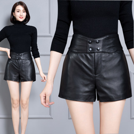 2020 Women New Real Genuine Sheep Leather Shorts KS63