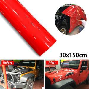 High Recommend 30 * 152CM Super Gloss Red Vinyl Film Wrap Sticker Foil Decoration Spare carro Wholesale Quick delivery CSV