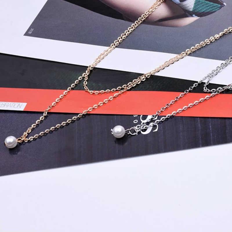 Sweet Simple Double Layer ไข่มุก Collarbone สร้อยคอผู้หญิง Choker CHAIN จี้แฟชั่นผู้หญิงใหม่ปีเครื่องประดับของขวัญ