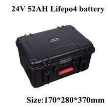 Paquete de batería LiFePO4 24V 52Ah con BMS para almacenamiento de energía motocicleta eléctrica E-silla de ruedas cortacésped carrito de Golf + cargador de 29,2 v 5A
