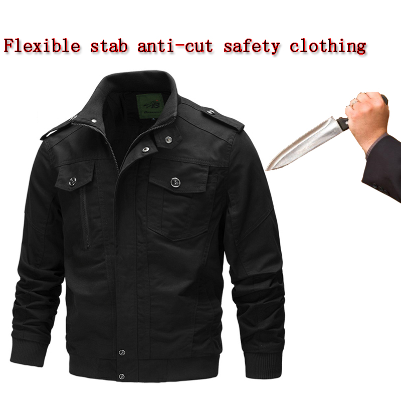 Men Plus Size Jacket Anti-cut Anti-stab Self-defense Flexible Invisible Jacket Stand Collar Fashion Fbi Police Safety Clothing