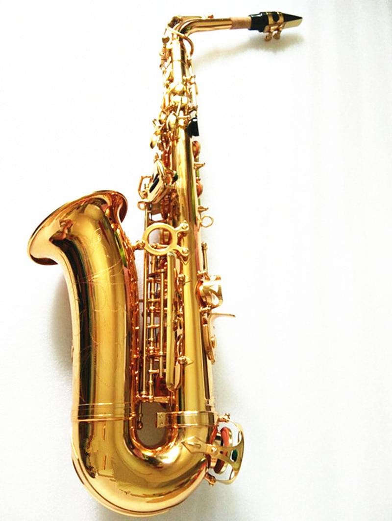 Alto Saxophone Wholesale-Hot SALE Alto Eb Golden Sax Flat Musical Instruments Professional Saxophone Mouthpiece And Case