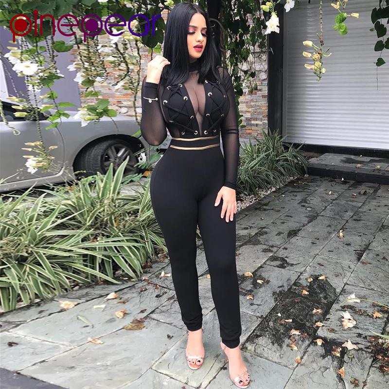 PinePear Sexy Mesh Jumpsuit Women 2020 Winter Long Sleeve Lace Up See Through Nightclub Bandage Bodycon Romper Drop Shipping