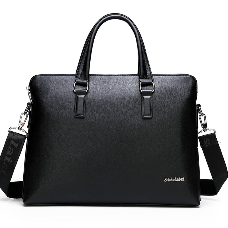 Famous Brand Leather Briefcase Men Shoulder Bag Office Laptop Handbag Vintage Style Casual Men Messenger Crossbody Bag Male 2019