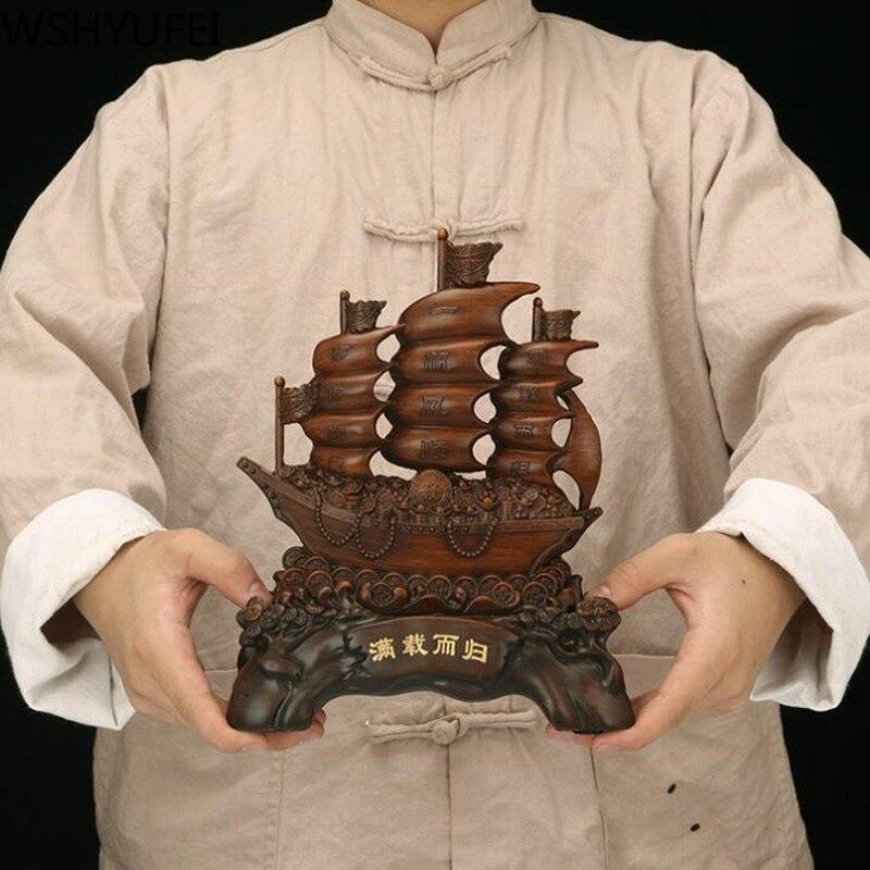 Résine maison cadeau lisse voile Dragon bateau décoration pour bureau ornements cadeau d'affaires chanceux ville maison ouverture