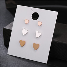 Fashion 3Pair/Set Women Mixed Size Gold Silver Rose Color Heart Stud Earrings Set for Piercing Girl Jewelry
