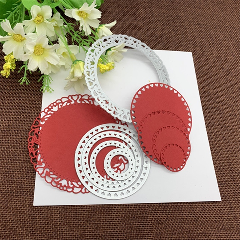 Crazyclown DIY 5pcs/lot Round Heart-shaped Frame Background Frame Scrapbook Album Paper Card Metal Decoration Embossing Die