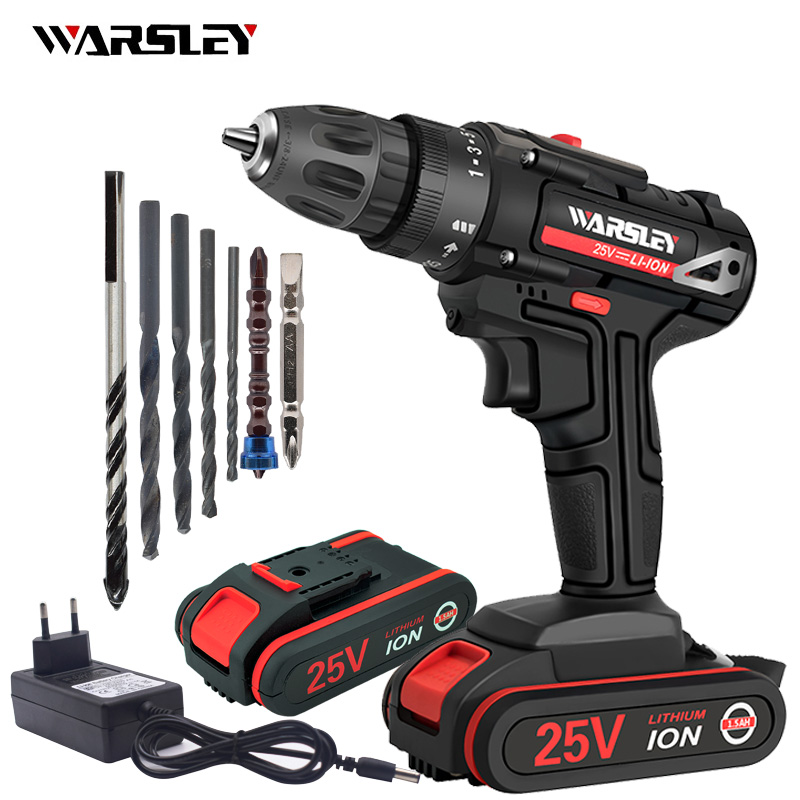 <font><b>25V</b></font> Cordless screwdriver electric screwdriver 1.5AH lithium battery charging drill power tool +7 drill image