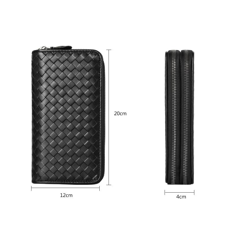 Image 5 - Luxury Soft Bag High Quality Genuine Leather Men Wallets Double  Zipper Handbags Long Purse For Men  Passport Cover Card Holderdouble  zipperknitted walletmen leather