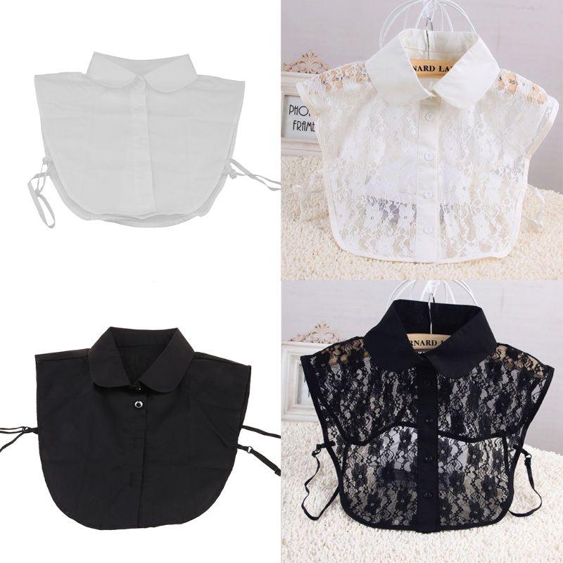 Women Pure Color Lace Detachable Lapel Choker Necklace Shirt Fake False Collar C90E New For Women