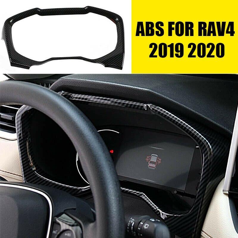ABS Carbon Fiber Dashboard Decorative Frame Trim Dash Panel Frame Trim Cover For Toyota RAV4 2019-20( Right-Side Drive )