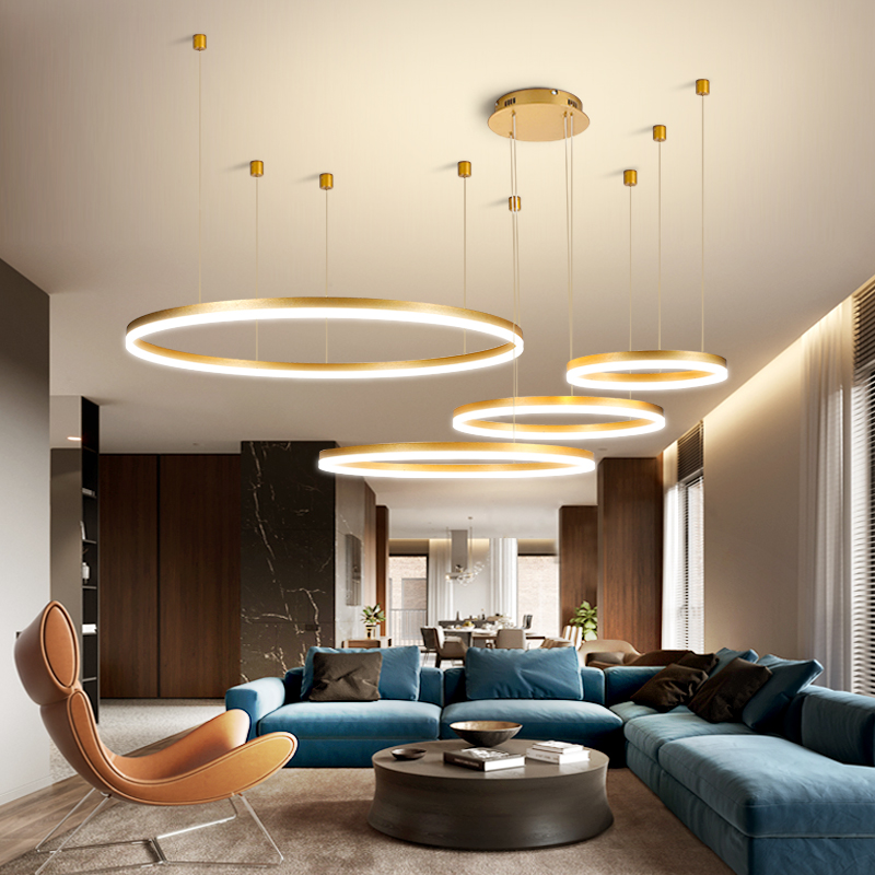 Modern Pendant Lights For Gold Black Coffee Living Room Dining Room Circle Rings Acrylic Aluminum Body LED Ceiling Lamp Fixtures