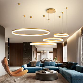 Modern Pendant Lights For Gold/Black/Coffee Living Room Dining Room Circle Rings Acrylic Aluminum Body LED Ceiling Lamp Fixtures modern pendant lights spherical design white aluminum pendant lamp restaurant bar coffee living room led hanging lamp fixture