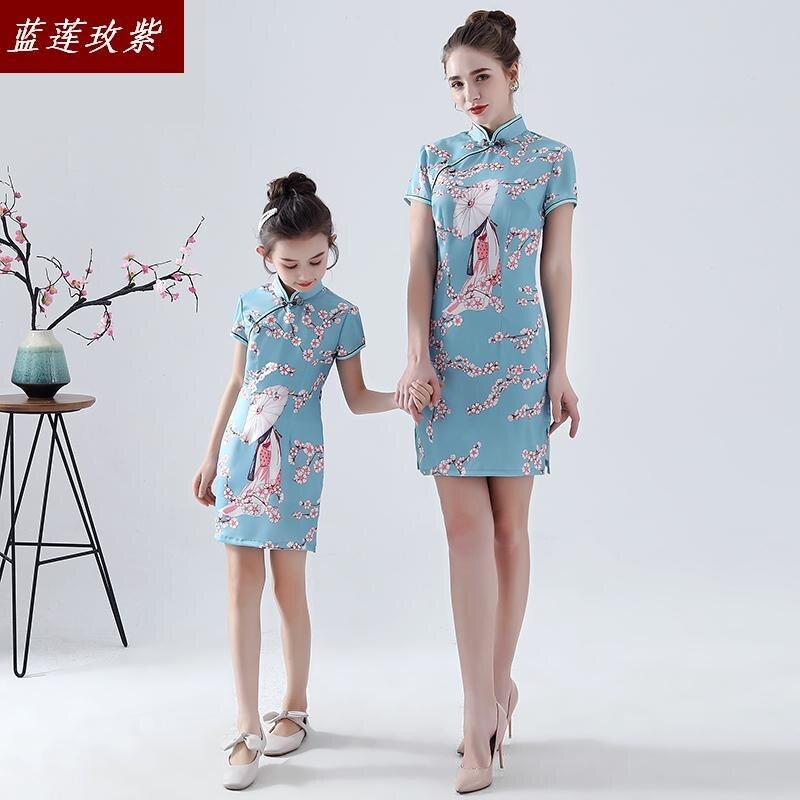 Mère et fille de chinense style famille vêtements 2019 rétro cheongsam imprimer robe à manches courtes slim filles famille robe