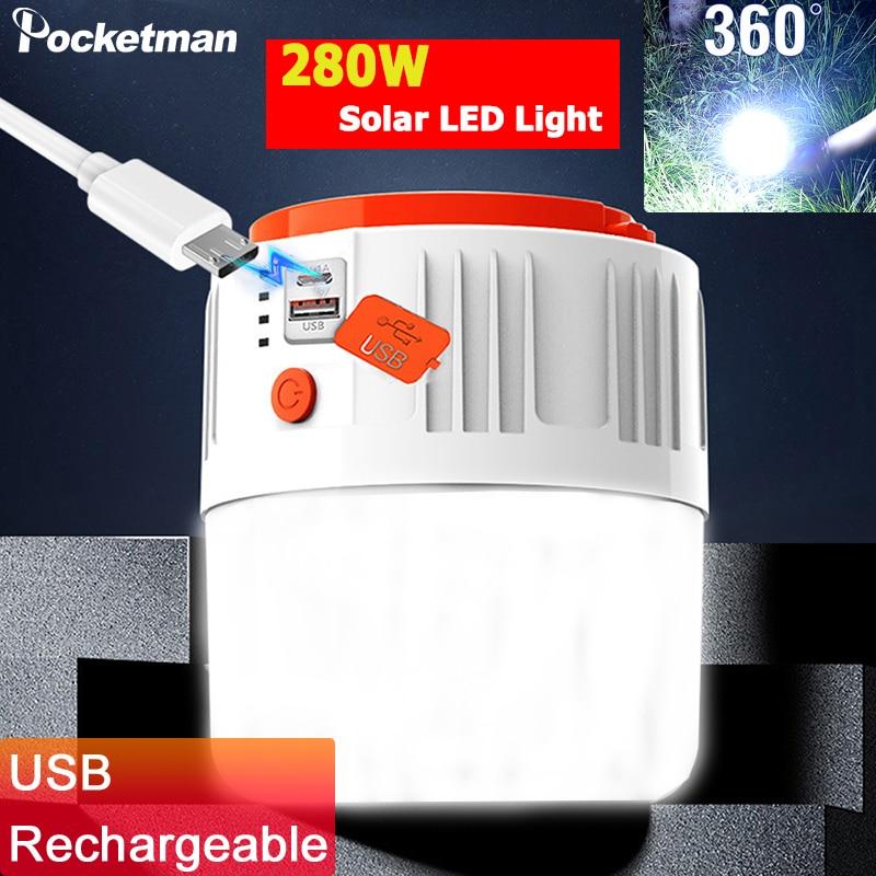 280W Solar LED Camping Light USB Rechargeable Lantern Tent Light Portable Solar Light Camping Lamp Lantern Emergency Light