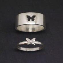 Mkendn anel de borboleta de alta qualidade casal anel amantes gif para amante jóias