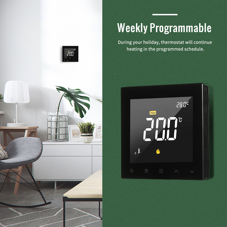 WIFI Thermostat intelligent Programmable contrôleur de température de chauffage par le sol de l'eau écran tactile couleur avec télécommande App - 5