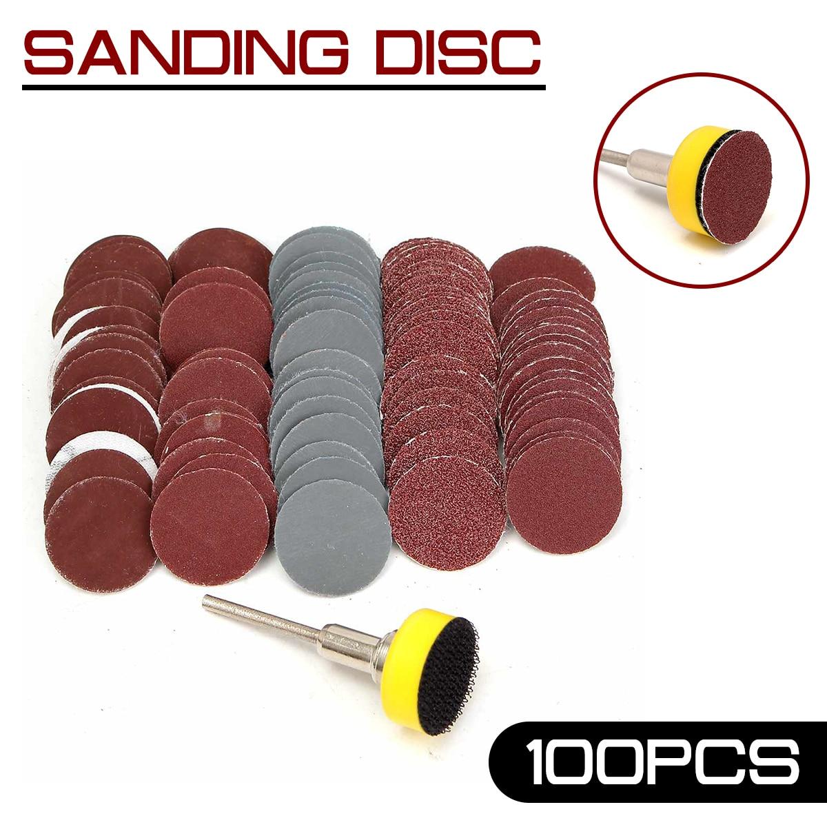 100Pcs 1inch Sanding Disc + Loop Sanding Pad 1inch +1/8inch Shank Abrasives Hook Loop Backer SandPaper Mixed Set