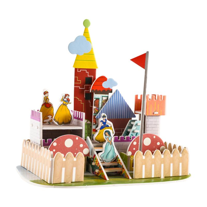 3D DIY Puzzle Jigsaw Cartoon Castle House Early Educational Toys Kids Gifts