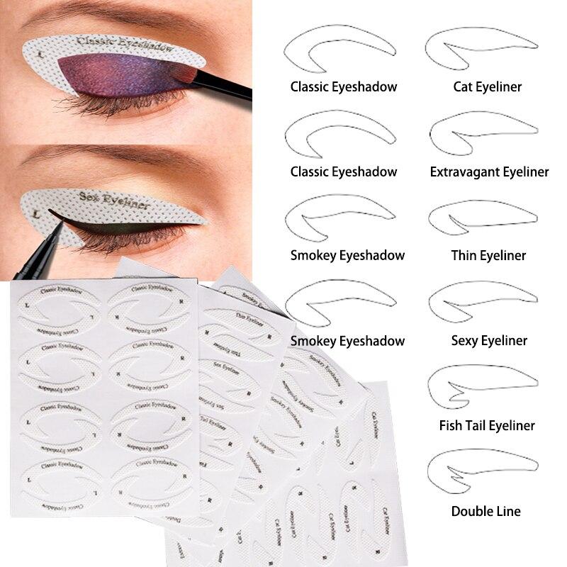 Makijaż Oczu Szybkie Eyeliner Cień Do Powiek Wzornik Bomb Samoprzylepnych 1 PC/4 Sztuk Leniwy Przydatne Cień Do Powiek Formy Karty Rysowania Oczu Szablon Uroda Narzędzie