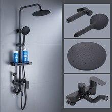 Матовый черный дождевой смеситель для душа 3/4 режим Однорычажный смеситель для ванны и душа кран для ванной Биде опрыскиватель полка для хранения