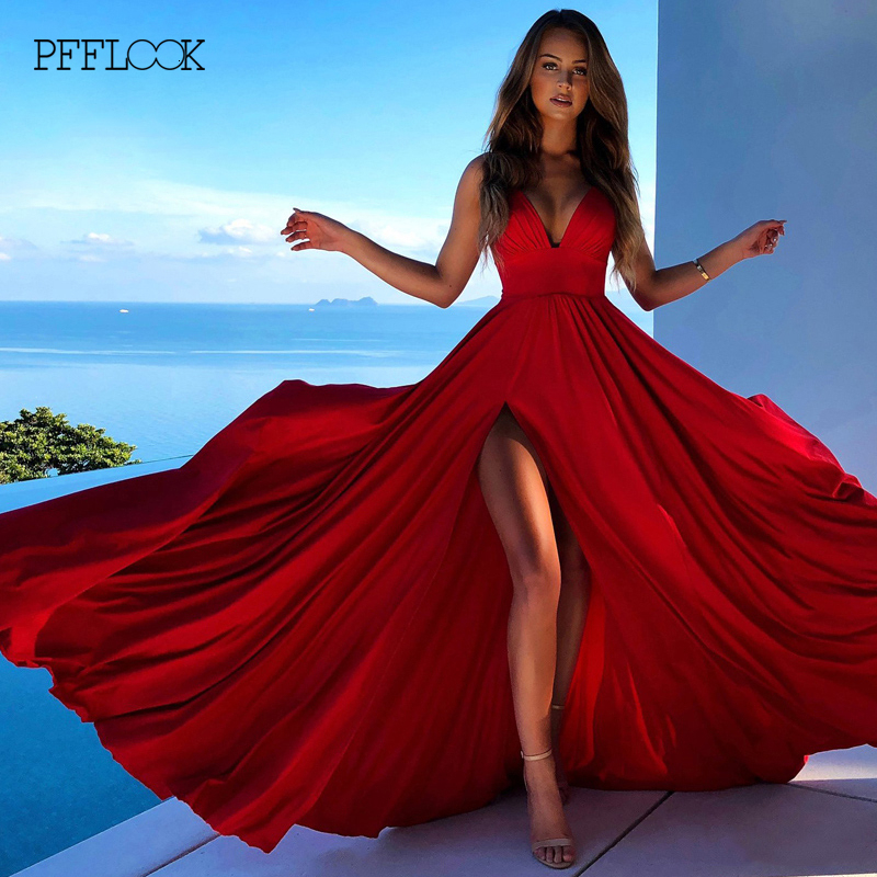 PFFLOOK Elegant Red Christmas Party Dress Women High Split Backless Deep V Maxi Long Dresses Sexy Bodycon Dress Evening Vestidos