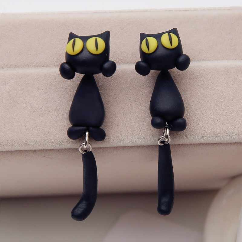 Drop Shipping Hot Selling Handmade Polymer Clay Cute Cat Animal Stud Earrings Ear Stud Jewelry Brincos Yellow Green Eyes