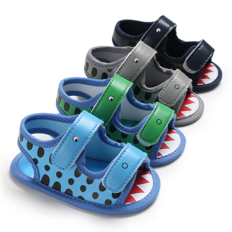 0-18M 2019 Summer Baby Boys Sandals Toddler Solid Color Cartoon Shark Print Slip-On Shoes Anti-Slip Baby Pu Leather Sandals Boy