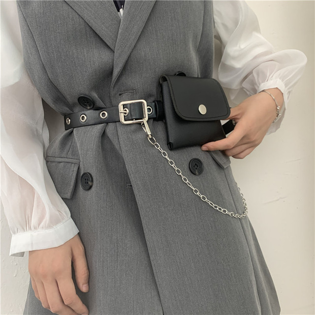 Women Fashion Waist Pack PU Fanny Pack Simple Women's Gift Belt Bag Phone Chain Bags For Lady Casual Pack Female Purse Black 6