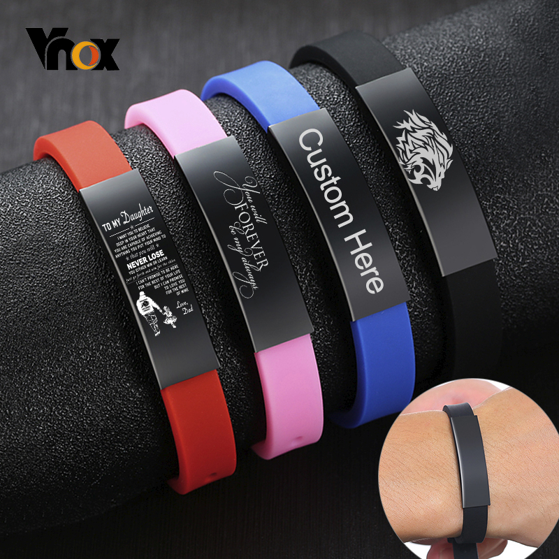 Vnox Adjustable Silicone Custom ID Bracelets For Kids Girls Boys Stainless Steel Bar Comfort Wear Soft Rubber Women Men Bangle