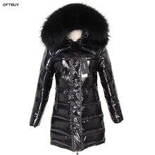 OFTBUY 2019 เสื้อแจ็คเก็ตสตรีฤดูหนาวขนสัตว์จริงธรรมชาติ Raccoon ปลอกคอขนยาวเป็ดลงเสื้อกันน้ำ Streetwear แบรนด์