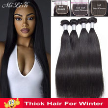 Peruvian Straight Hair With Lace Closure Remy Hair Bundle With 5x5 6x6 Closure 3 Bundles Mi Lisa Human Hair Weave Bundles Deal(China)