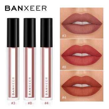 Banxeer lipgloss 3 قطعة / المجموعة ماتي شفة لمعان ماء طويلة الأمد velcety ماتي أحمر الشفاه ماكياج الشفاه التجميلية