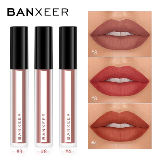 BANXEER Lipgloss 3pcs/Set Matte Lip Gloss Waterproof Long Lasting Velcety Matte Liquid Lipstick Makeup Lips Cosmetic