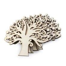 Embellissements d'arbre en bois vierge, pour bricolage artisanal, couleur du bois, 10 pièces